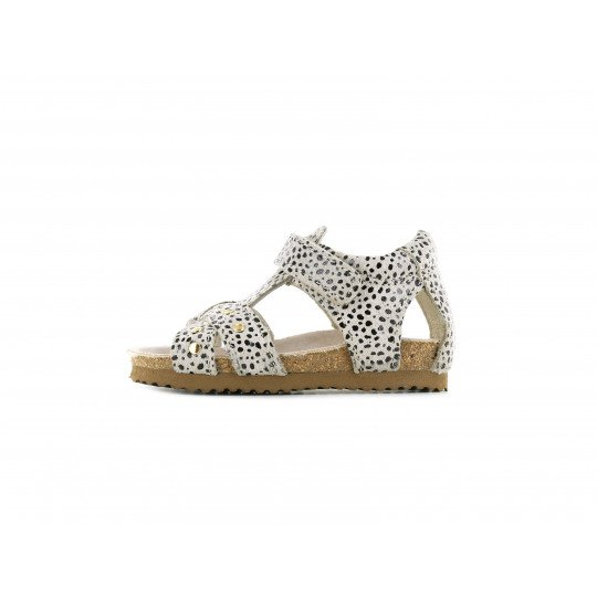 Shoesme beige sandaal met allover dotjesprint