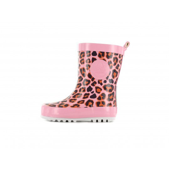 Shoesme roze regenlaars met all-over luipaardprint