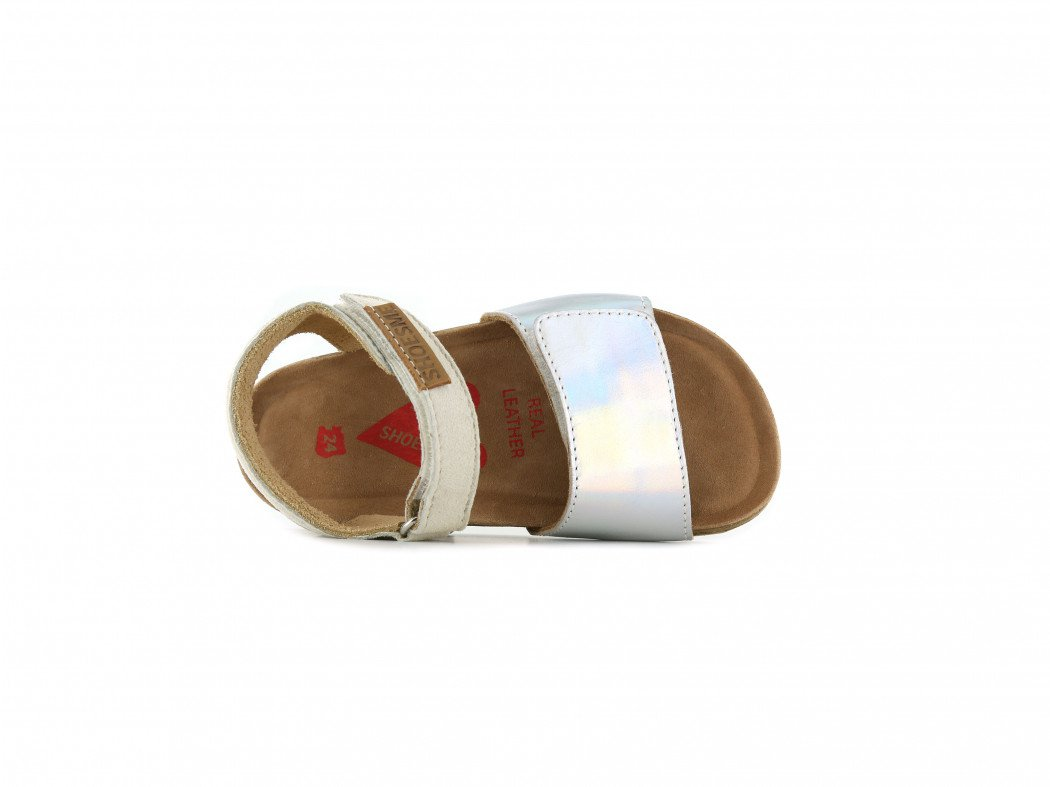 Shoesme beige sandaal met brede metallic band